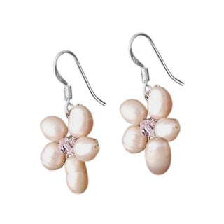 Sterling Silver Pink Pearl Flower Earrings (4-6 mm) (Thailand)