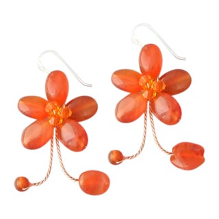 Sterling Silver Tangerine Chalcedony Earrings (Thailand)