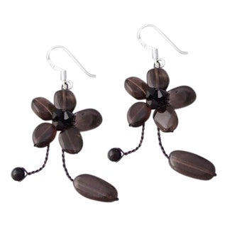 Silver Smokey Quartz Earrings (Thailand)
