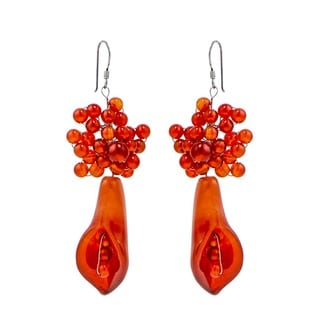 Carnelian Rose Vines Star Flower Earrings (Thailand)