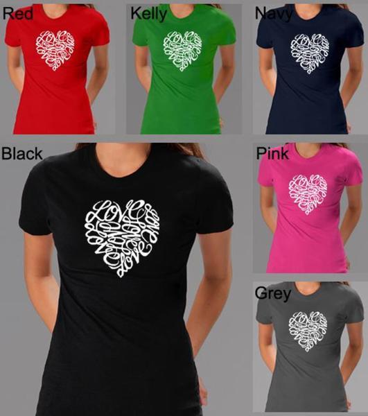 Los Angeles Pop Art Women's Cursive Heart T-shirt