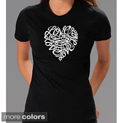 Los Angeles Pop Art Women's Cursive Heart T-shirt