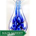 Murano Inspired Glass Blue Flower Teardrop Pendant