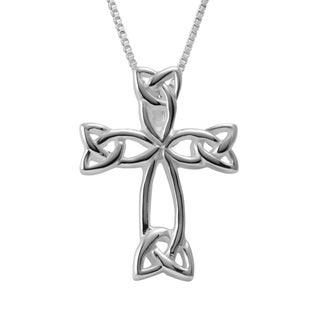 Sterling Silver Box Chain Necklace and Celtic Cross Pendant (Thailand)