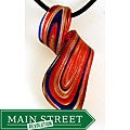Murano Inspired Glass Red and Gold Twisted Curl Pendant