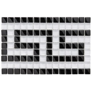 SomerTile 6x9-in Reflections Greek Key 0.5-in Ice White Border Glass Mosaic Tile (Pack of 12)
