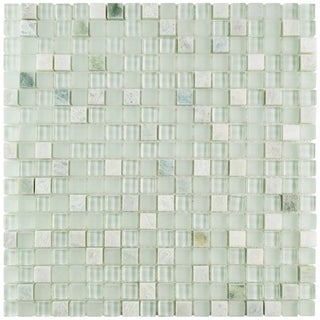 SomerTile 11.75x11.75-inch Reflections Mini Ming Glass and Stone Mosaic Wall Tile (10 tiles/9.79 sqft.)