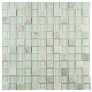 SomerTile 12x12-in Reflections Square 1-in Ming Glass Mosaic Tile (Pack of 10)