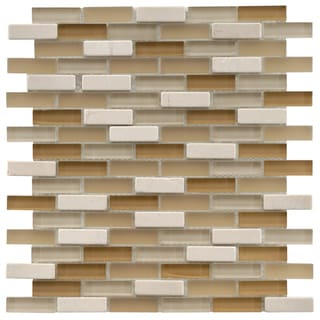 SomerTile 12x12-in Reflections Subway 5/8x2-in Latte Glass/Stone Mosaic Tile (Pack of 10)