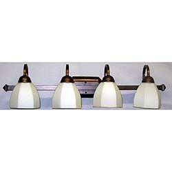 Classic Tea-Stain-Glass Copper-Finished Four-Light Vanity Strip