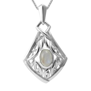 Sterling Silver Rainbow Moonstone Celtic Knot Necklace (Thailand)