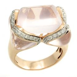 Beverly Hills Charm 14k Rose Gold Quartz and 1/2ct TDW Diamond Ring (Size 7)