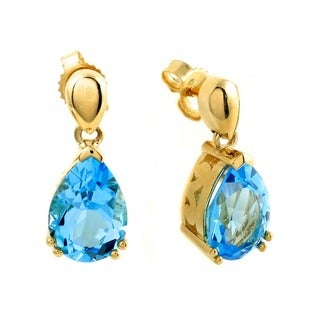 Beverly Hills Charm 14k Yellow Gold 4.8ct. TGW Blue Topaz Dangle Earrings