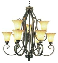 Trans Globe 9-light Burnished Gold New Century Transitional Chandelier