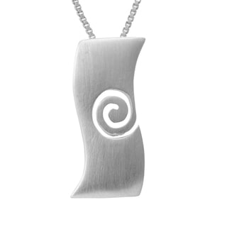 Sterling Silver Brushed Wavy Necklace (Thailand)