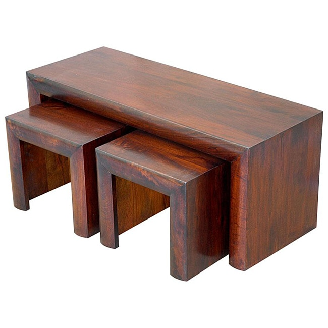 Mango Wood 3-piece Coffee Table And Stools Set (India