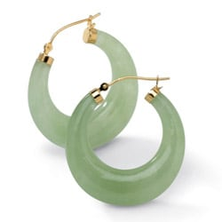 Angelina D'Andrea 14k Yellow Gold Jade Hoop Earrings