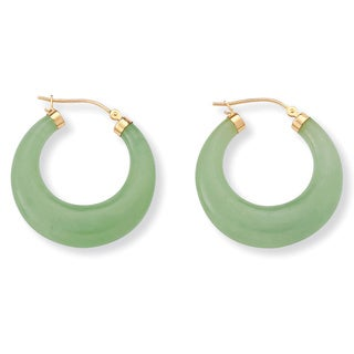 PalmBeach Jade 14k Yellow Gold Hoop Earrings Naturalist