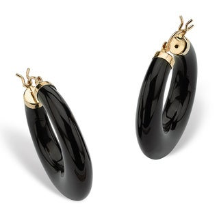 PalmBeach Reconstituted Black Onyx 14k Yellow Gold Hoop Earrings Naturalist