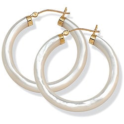 PalmBeach 14k Yellow Gold Mother of Pearl Hoop Earrings Naturalist