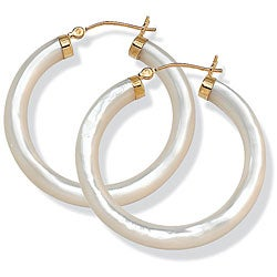 Angelina D'Andrea 14k Yellow Gold Mother of Pearl Hoop Earrings