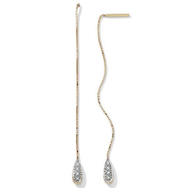 PalmBeach Pave Diamond Accent Thread-Thru Earrings in 10k Gold