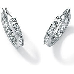 Ultimate CZ Platinum over Silver Cubic Zirconia Hoop Earrings