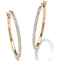 PalmBeach 14k Gold Diamond Accent Hoop Earrings