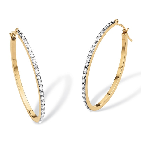 "PalmBeach Diamond Accent 14k Yellow Gold Diamond Fascination Hoop Earrings 1"" Diameter"