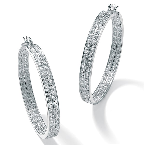 PalmBeach 4.50 TCW Round Cubic Zirconia Inside-Out Double Row Hoop Earrings in Silvertone Bold Fashion
