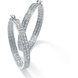 Ultimate CZ Sterling Silver Cubic Zirconia Hoop Earrings