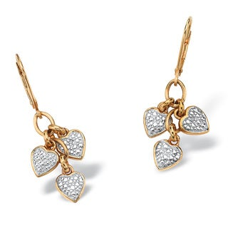PalmBeach Diamond Accent Heart Charm Drop Earrings in 18k Gold over .925 Sterling Silver