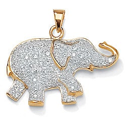 PalmBeach CZ 18k Gold over Sterling Silver Cubic Zirconia Elephant Pendant Glam CZ
