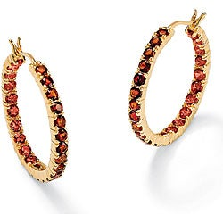 PalmBeach Gold Over Silver Red Garnet Hoop Earrings
