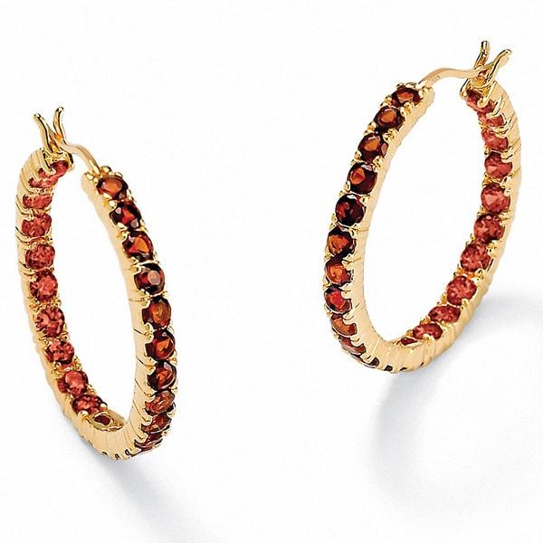 PalmBeach Gold Over Silver Red Garnet Hoop Earrings