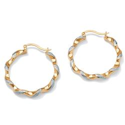 Isabella Collection 18k Gold over Silver Diamond Accent Hoop Earrings