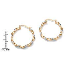 PalmBeach 18k Gold over Silver Diamond Accent Hoop Earrings