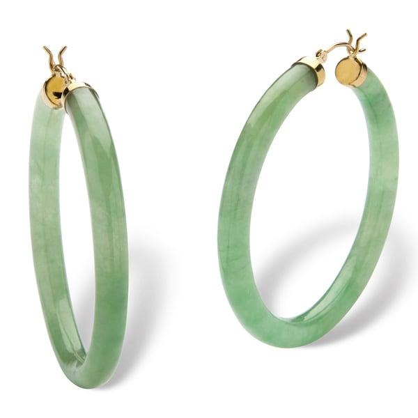 PalmBeach Genuine Green Jade 10k Yellow Gold Hoop Earrings Naturalist