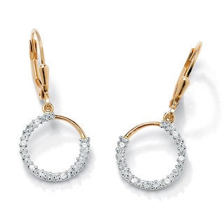 Isabella Collection 18k Yellow Gold over Silver Diamond Accent Earrings
