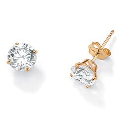 PalmBeach CZ 10k Yellow Gold Round-cut Cubic Zirconia Stud Earrings Classic CZ