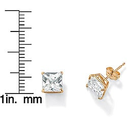 Ultimate CZ 10k Yellow Gold Cubic Zirconia Stud Earrings