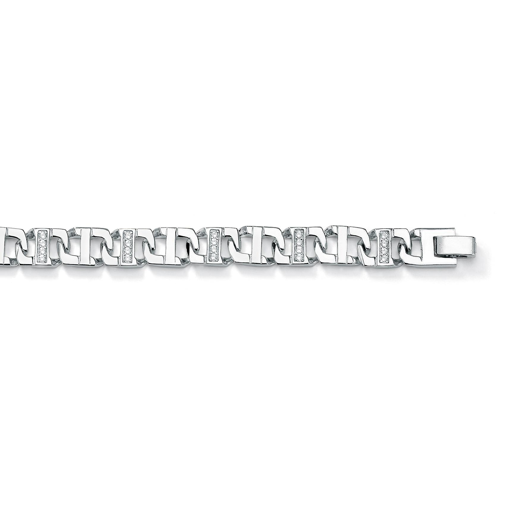 "PalmBeach Men's 1.18 TCW Round Cubic Zirconia Silvertone Mariner-Link Bracelet 8"""