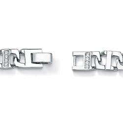 Ultimate CZ Silvertone Men's Cubic Zirconia Bracelet