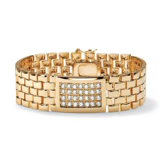 """PalmBeach Men's 5.04 TCW Round Cubic Zirconia 14k Gold-Plated Panther-Link Bracelet 8"""""""
