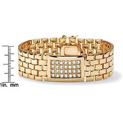 PalmBeach CZ 14k Gold Overlay Men's Cubic Zirconia Bracelet