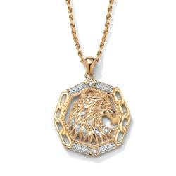 PalmBeach 18k Gold over Silver Men's Diamond Accent Eagle Pendant