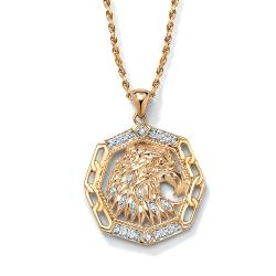 Isabella Collection 18k Gold over Silver Men's Diamond Accent Eagle Pendant