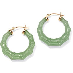 Angelina D'Andrea 14k Yellow Gold Green Jade Hoop Earrings