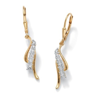 PalmBeach 18k Gold over Silver Diamond Accent Earrings