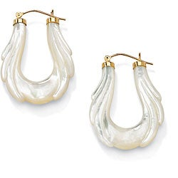 PalmBeach 10k Yellow Gold Mother of Pearl Hoop Earrings Naturalist